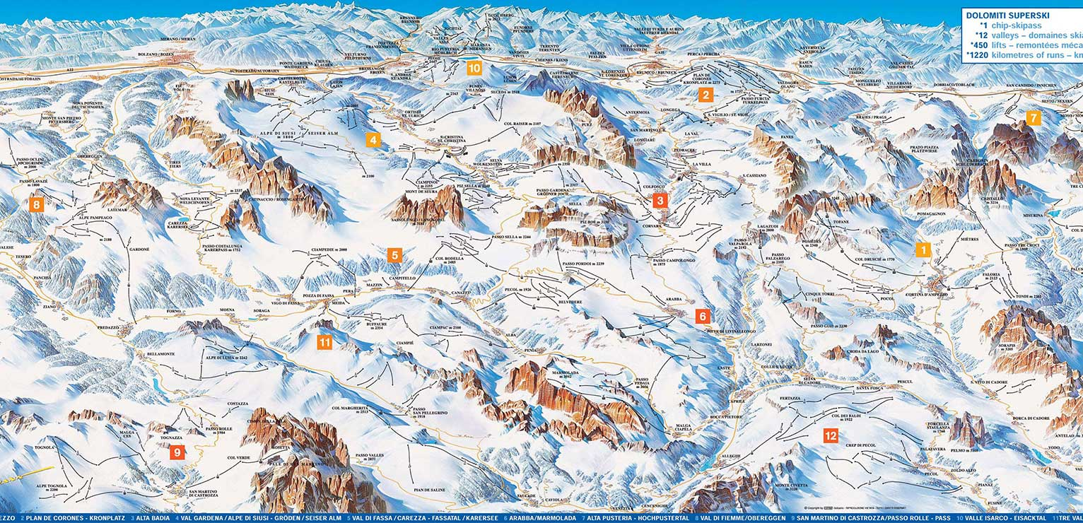 Dolomiti Superski map